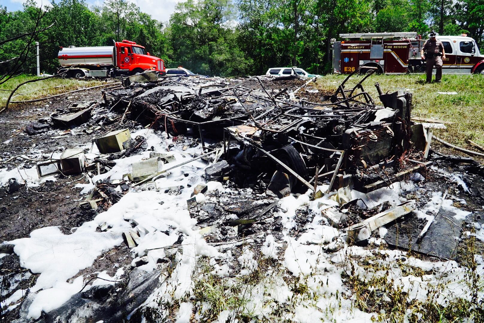 Photo from the wreck on I-75 near Micanopy on Friday, July 14. Courtesy Alachua County Sheriff's Office.