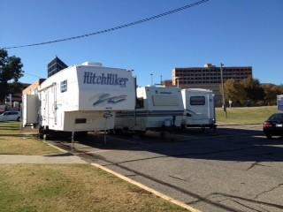 The RV's sit at Integris Baptist.