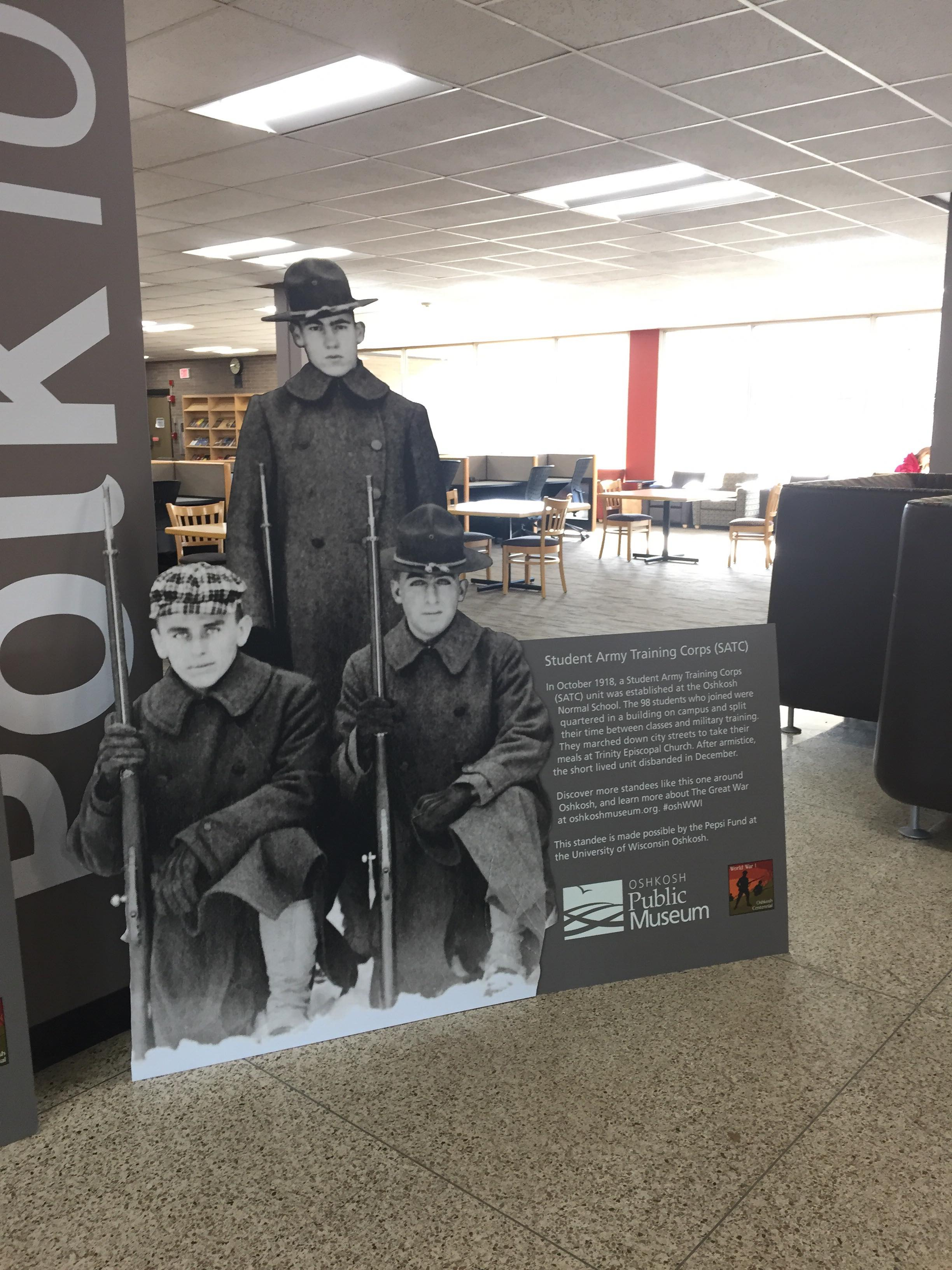 These three men were part of the Student Army Training Corps (SATC). The unit was established at the Oshkosh Normal School during WWI.{&amp;nbsp;}February 2, 2018. (WLUK/Pafoua Yang) <p></p>