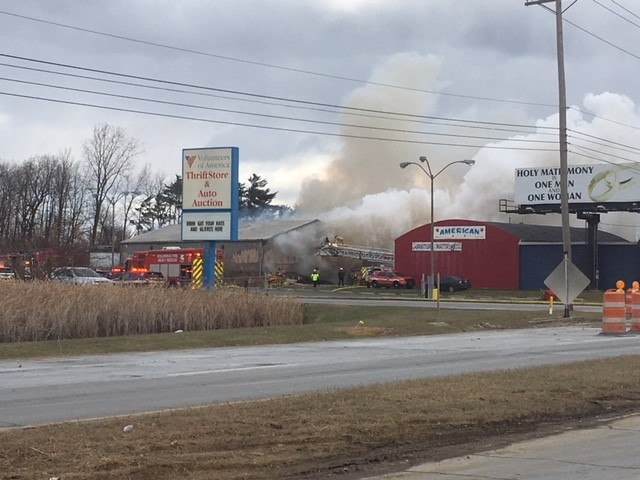 A fire broke out at a Liberty Freight furniture warehouse on West Broad Street. The warehouse is next to the Volunteers of America location (WSYX/WTTE)<p></p>