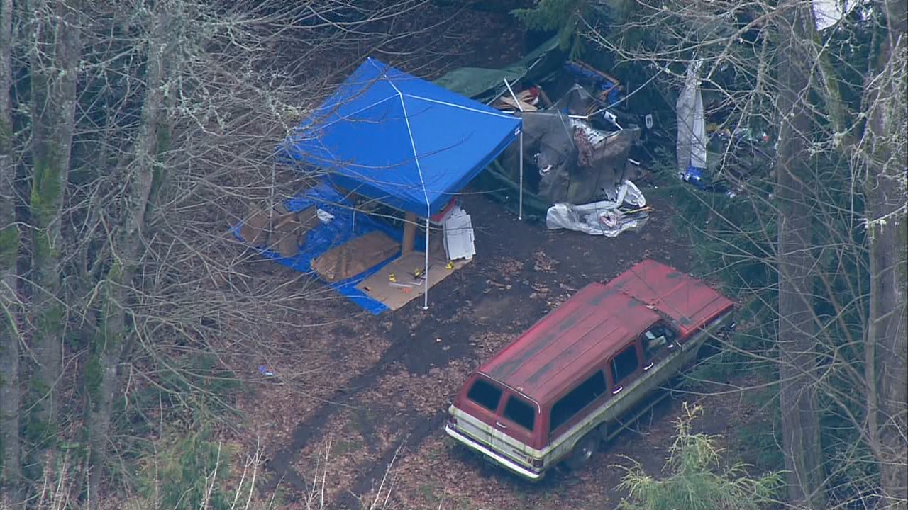 A woman was found dead near a bunker filled with guns and supplies on a vacant piece of land on the south end of Camano Island, Monday, March 5, 2018. (Photo: KOMO News/Air 4)<p></p>