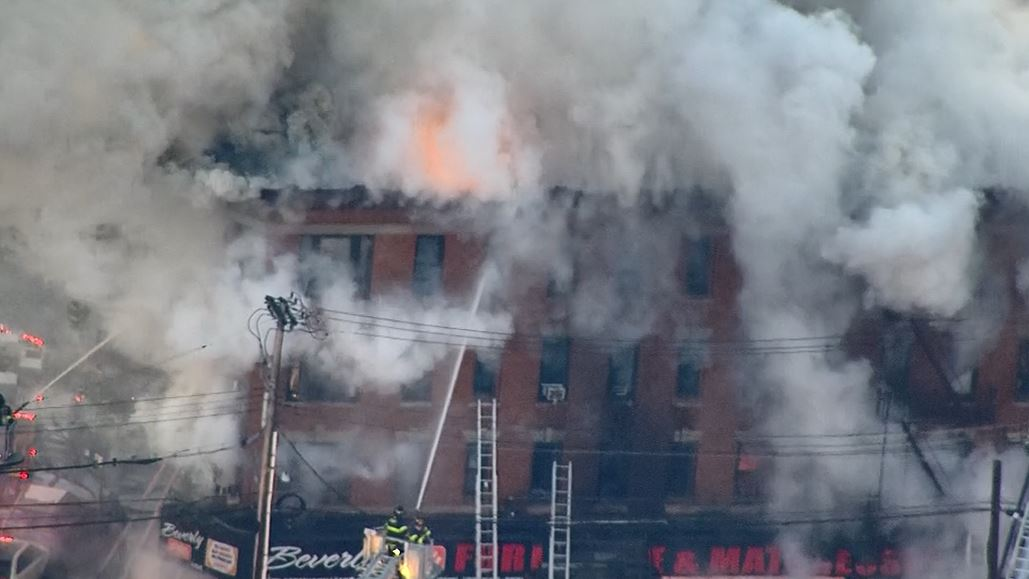 The Fire Department of New York says 16 people are hurt, four of them seriously, in a fire raging through a Bronx building. (WPIX via CNN Newsource)