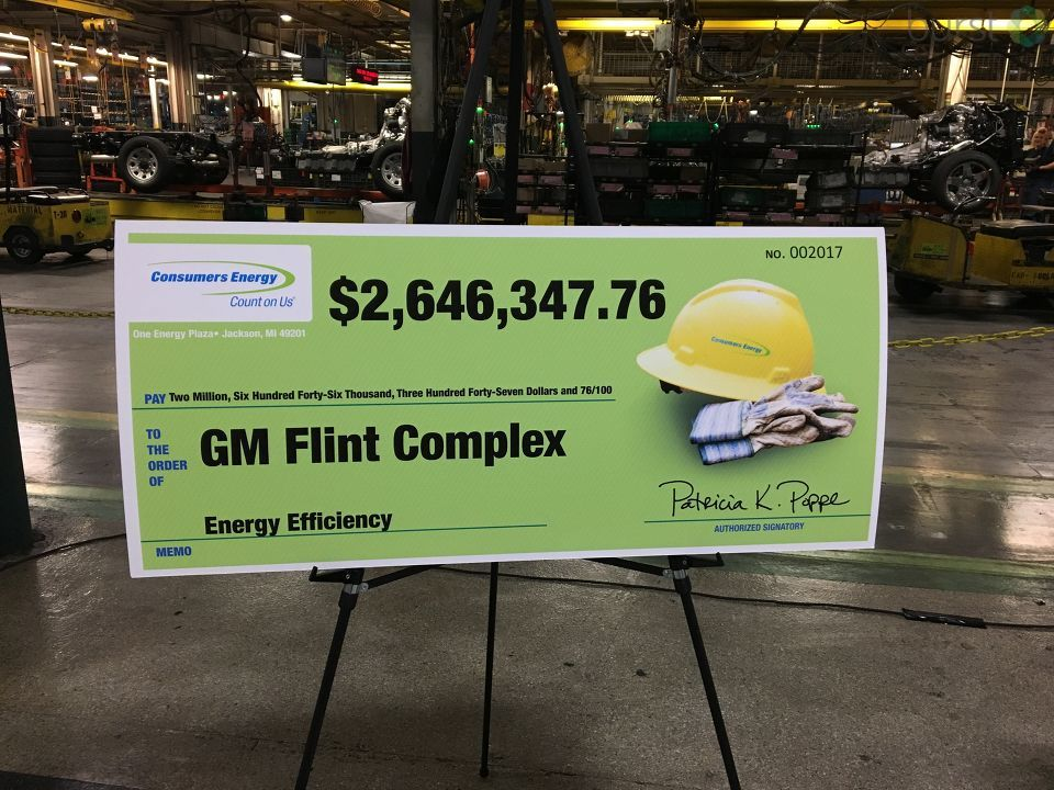 The General Motors Flint complex received a $2.6 million incentive payment from Consumers Energy for their energy efficiency upgrades Wednesday. (Photo Credit: Marketia Bady){&amp;nbsp;}<p></p>