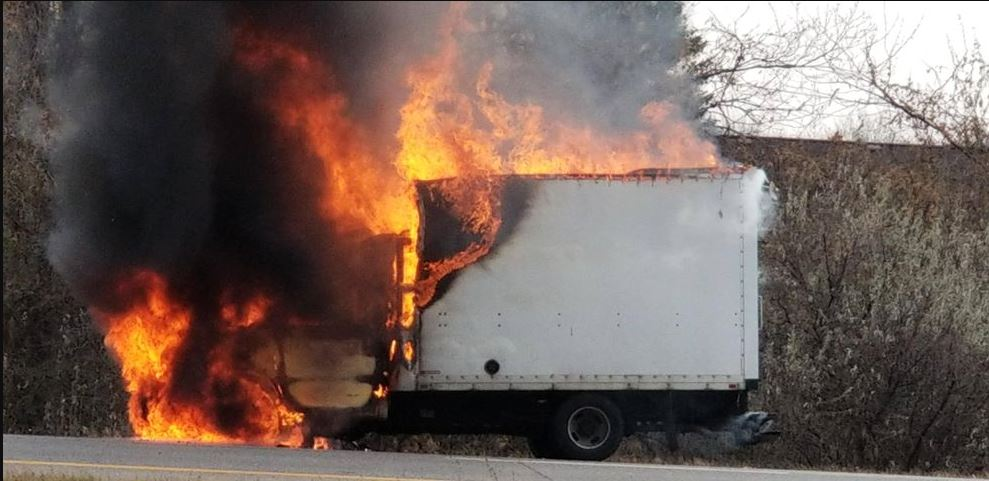 A box truck caught fire on Rt. 490 East Monday, slowing traffic in the morning. (Photo: Raynelle A.)<p></p>