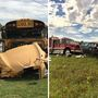 Two hospitalized after car crashes into school bus in Logan County