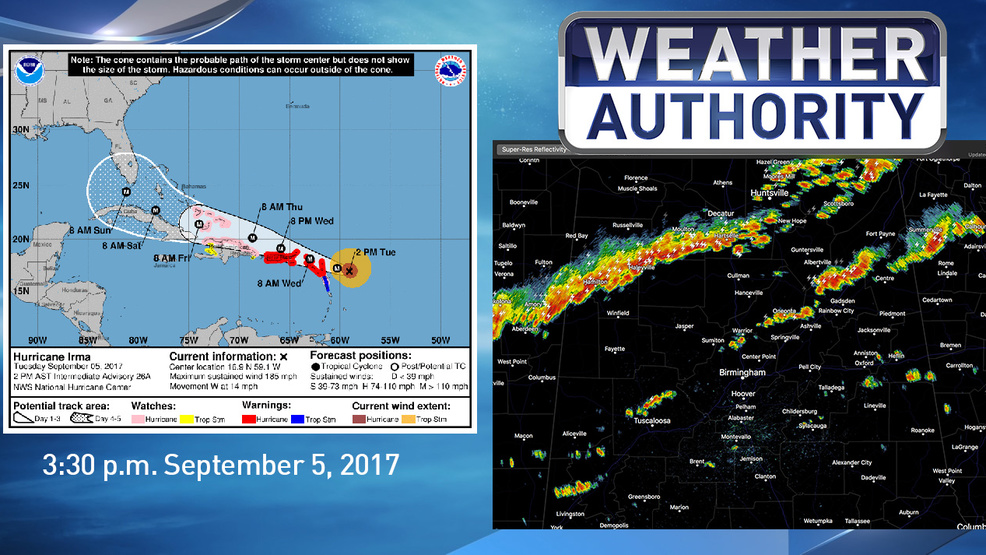 The Weather Authority Strong Storms Over North Alabama Irma A Cat 5 Wbma