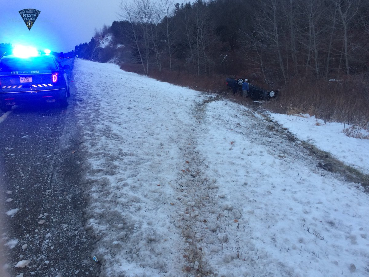 Massachusetts State Police tweeted this photo of a car on its roof off Interstate 190 in West Boylston, Thursday, Dec. 14, 2017. (WJAR)