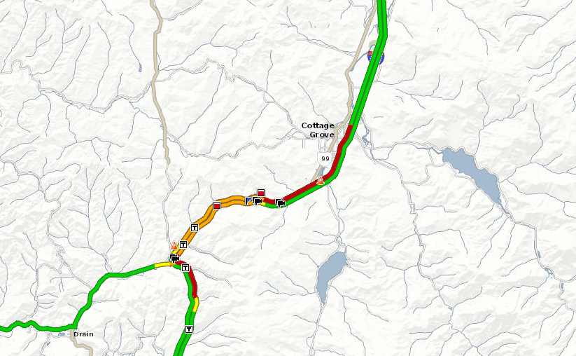 Map of traffic and delays south of Cottage Grove via TripCheck.com