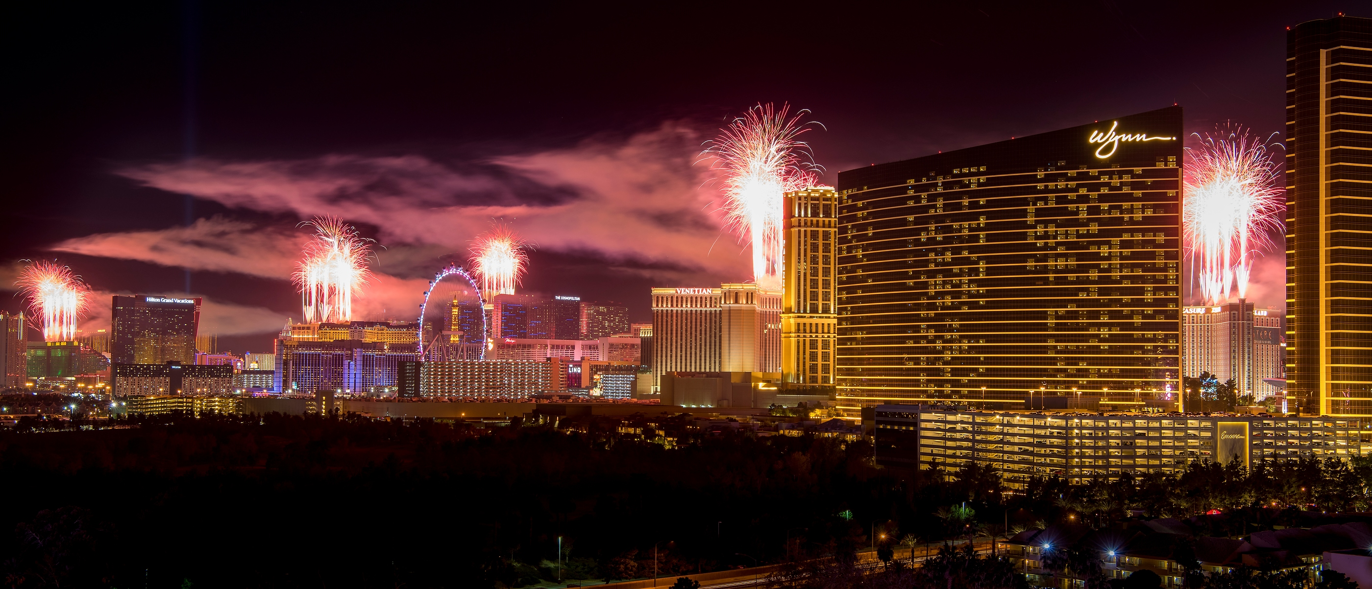 The fireworks of America's Party 2018 explode over the Las Vegas Strip to welcome the new year in this view from the rooftop of the Convention Center Marriott in Las Vegas on Monday, Jan. 1, 2018. More than 80,000 pyrotechnic effects are were launched from the rooftops of MGM Grand, Aria, Planet Hollywood, Caesars Palace, Treasure Island, The Venetian and Stratosphere. CREDIT: Mark Damon/Las Vegas News Bureau