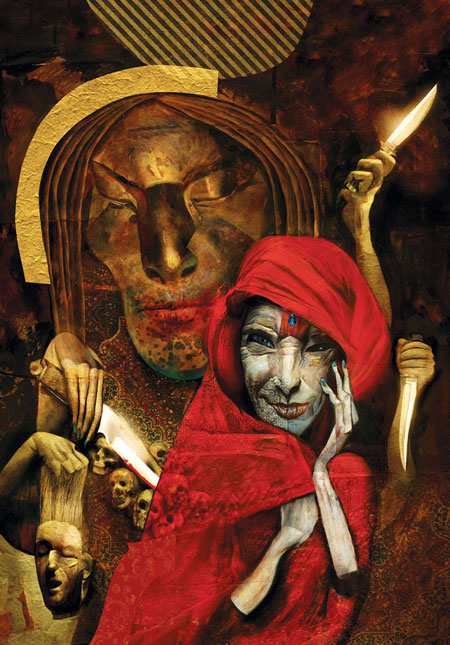 "Illustrations by Dave McKean from Neil Gaiman's ""American Gods"" (Photo: The Folio Society){&amp;nbsp;}<p></p>"