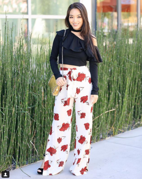 Kimberly's Insta is a bevy of glam outfits that can be purchased on a budget, so you can probably guess that we visit her often.{&amp;nbsp;} We're loving this asymmetrical one-shouldered number, and we love the juxtaposition between the cropped top and floral high-waisted /wide-legged pants. (Image: Courtesy IG user @sensiblestylista/{&amp;nbsp;}www.instagram.com/sensiblestylista/)<p></p>