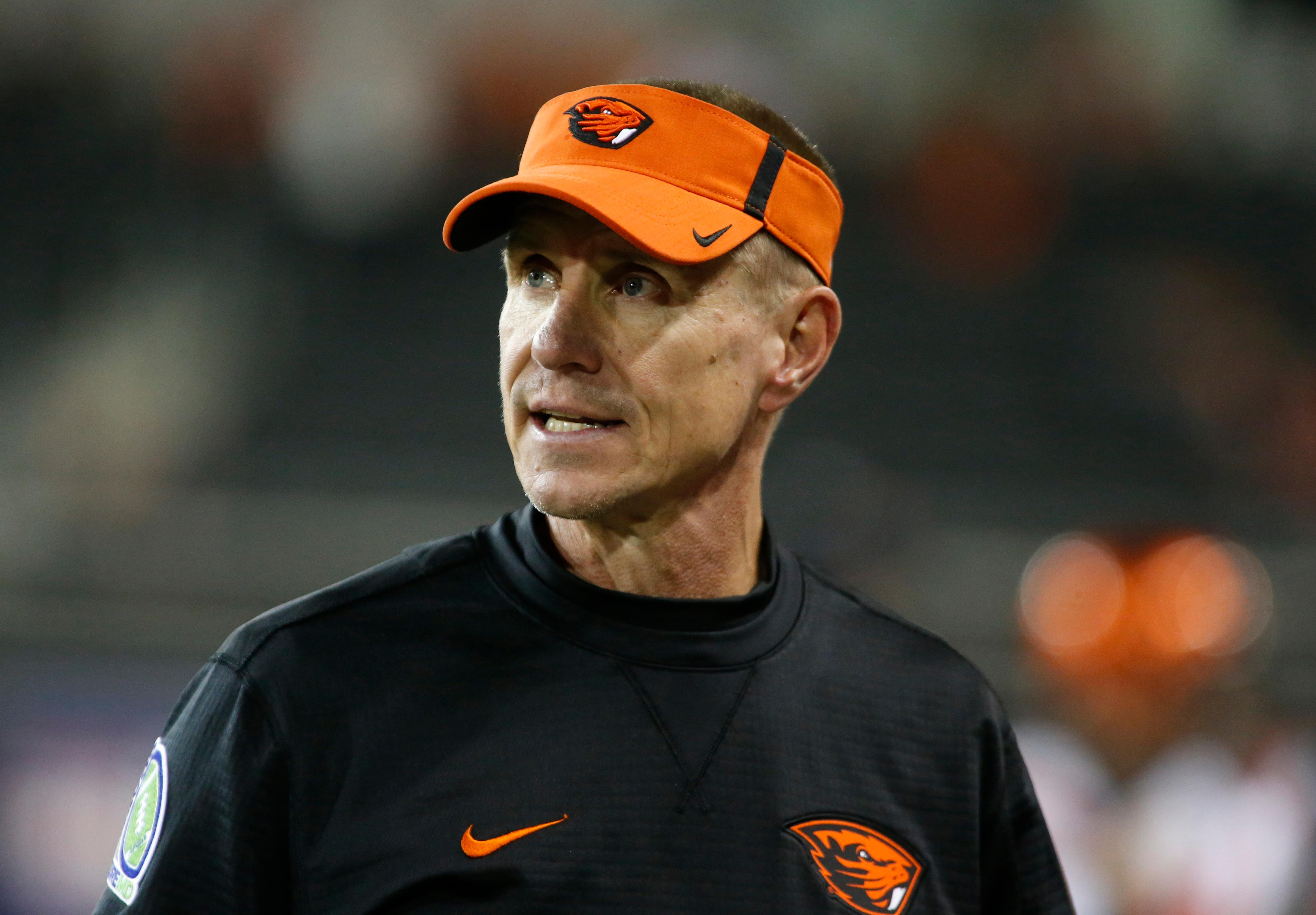 FILE - In this Sept., 30, 2017, file photo, Oregon State head coach Gary Andersen watches from the sidelines during an NCAA college football game against Washington, in Corvallis, Ore. Oregon State and coach Gary Andersen have mutually agreed to part ways, effective immediately, with the Beavers off to a 1-5 start. The school announced the split in a news release Monday, Oct. 9, 2017, two days after a 38-10 loss at Southern California.  (AP Photo/Timothy J. Gonzalez, File)