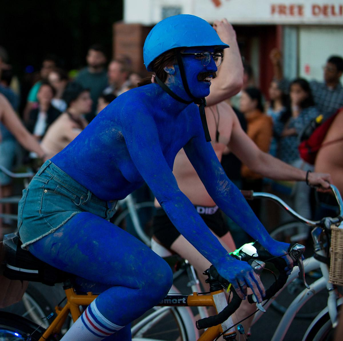 Thousands of bicyclists bared all for the World Naked Bike Ride on Saturday to highlight the problems of global oil dependency and the vulnerability of riders worldwide. The route rolled through Southeast Portland from Mt. Scott Park to the White Owl Social Club. (June 25 2016 - Photo by Tristan Fortsch)