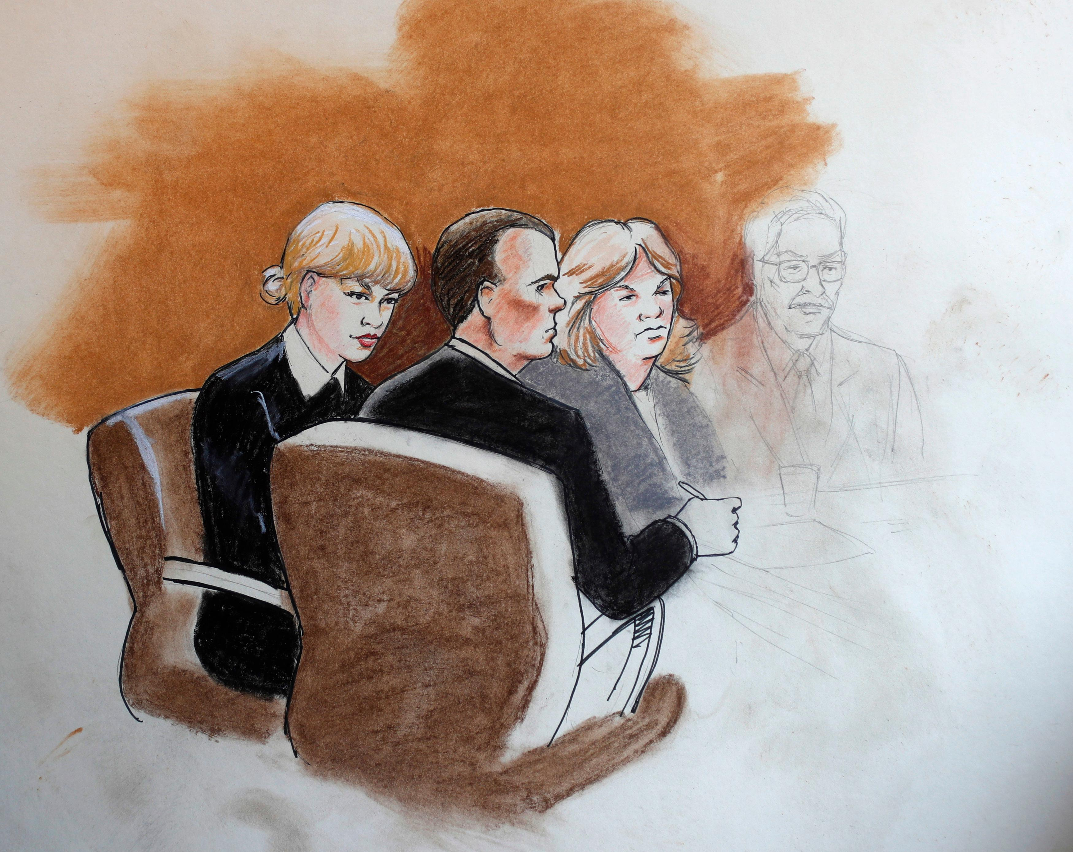 In this courtroom sketch, pop singer Taylor Swift, left, appears with her lawyer and mother in federal court Tuesday, Aug. 8, 2017, in Denver. Swift alleges that radio host David Mueller touched her during a concert meet-and-greet in 2013. The case went to court after Mueller sued Swift, claiming her false accusation cost him his job. He is seeking at least $3 million in damages. Swift countersued, claiming sexual assault. (AP Photo/Jeff Kandyba)