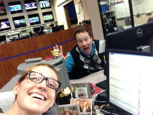 FOX 25 Primetime News at Nine producer Stefanie Harris and Primetime News at Nine anchor Mike Brooks pose for a selfie.