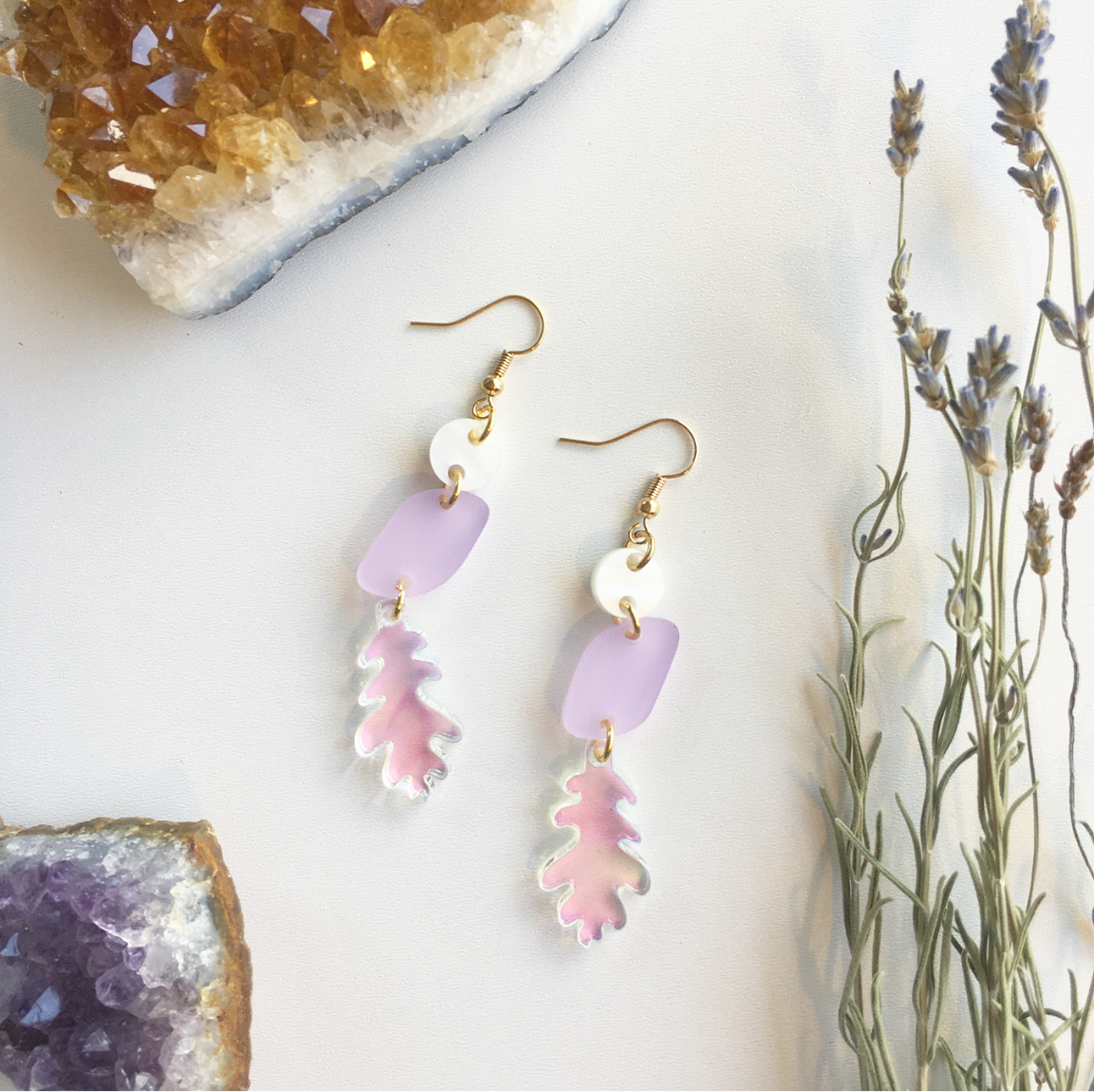 Laser-cut and individually constructed acrylic earrings{&nbsp;}/ Image: courtesy of Ellebrux // Published: 3.26.20 <br><p></p>
