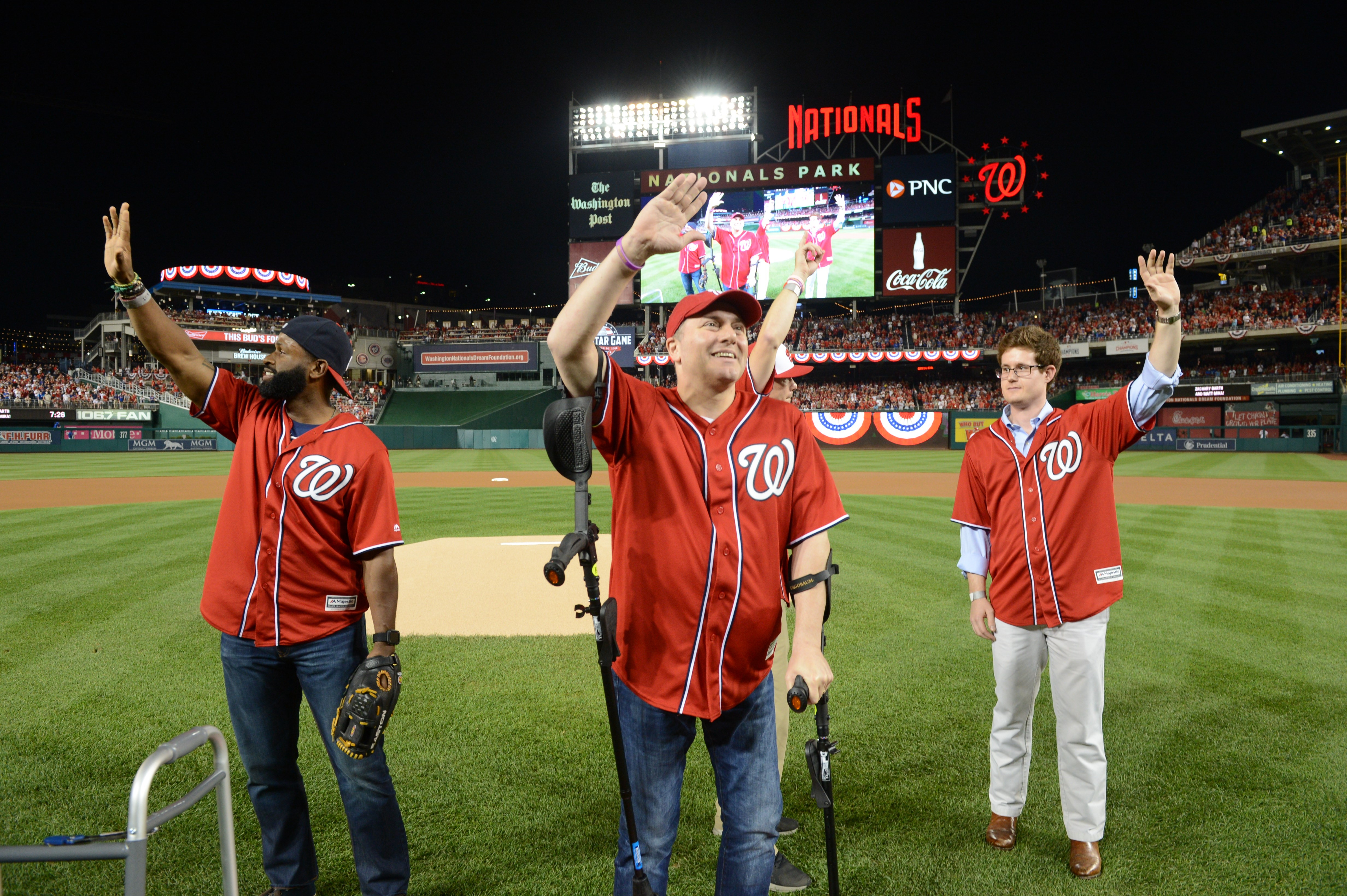 Congressman Steve Scalise throws out first pitch for playoff game (Photos courtesy of the Washington Nationals)