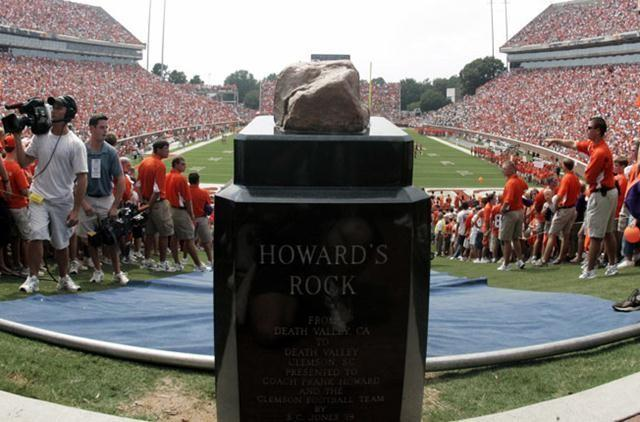 Every home game, Clemson players run by a rock from Death Valley, Ca. In 1960, the rock was given to then head coach Frank Howard by a friend. The rock was put on a pedestal and when the players first ran by it in '66 they beat conf. rival Virginia.