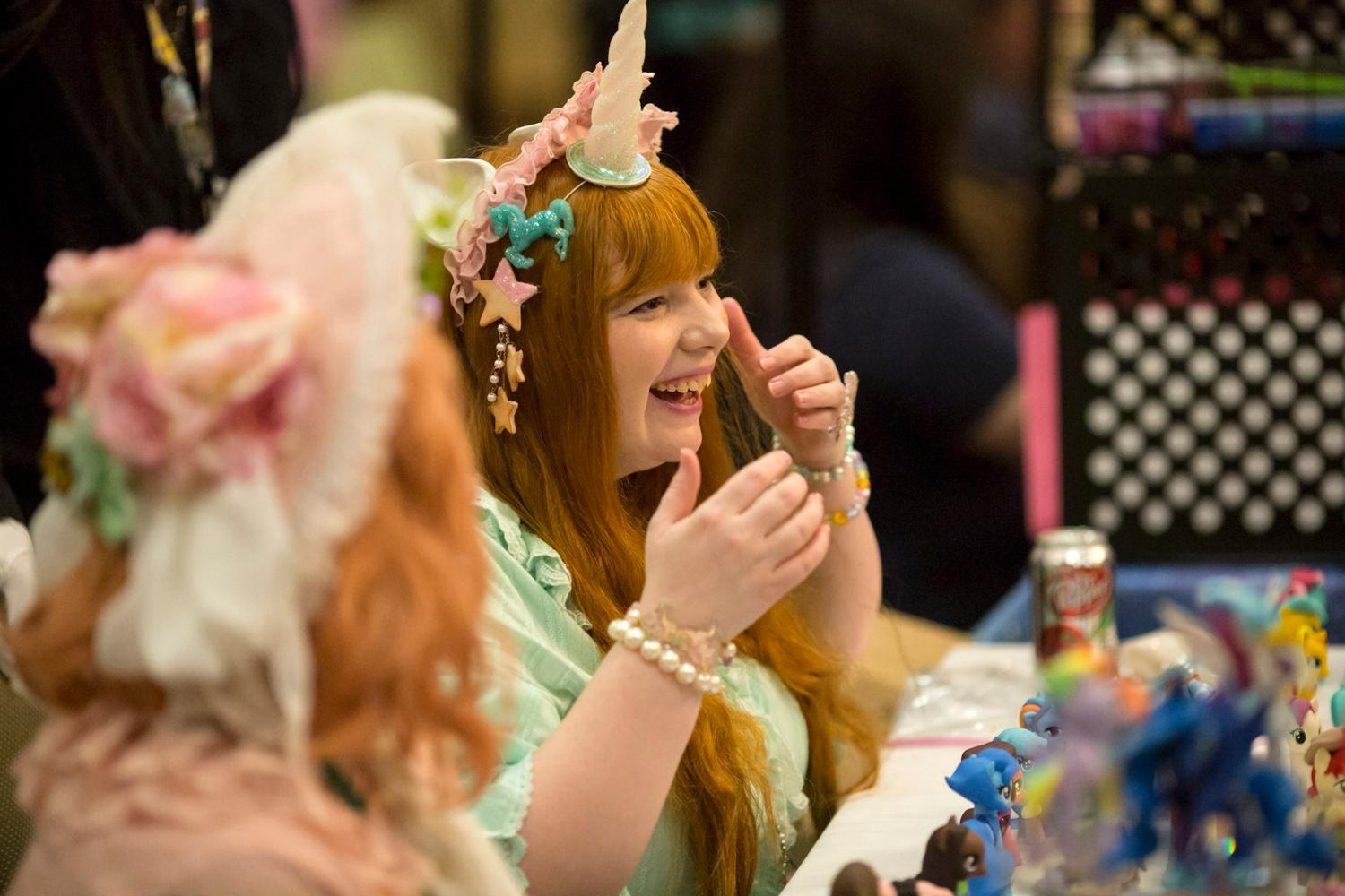 Fans crazy about the cartoon show My Little Pony flood the DoubleTree Hotel in SeaTac for Everfree Northwest, a three-day convention featuring everything to do with the popular TV show. Over 3,000 attendees are expected to attend the event, which is now in its 7th year. (Sy Bean / Seattle Refined)