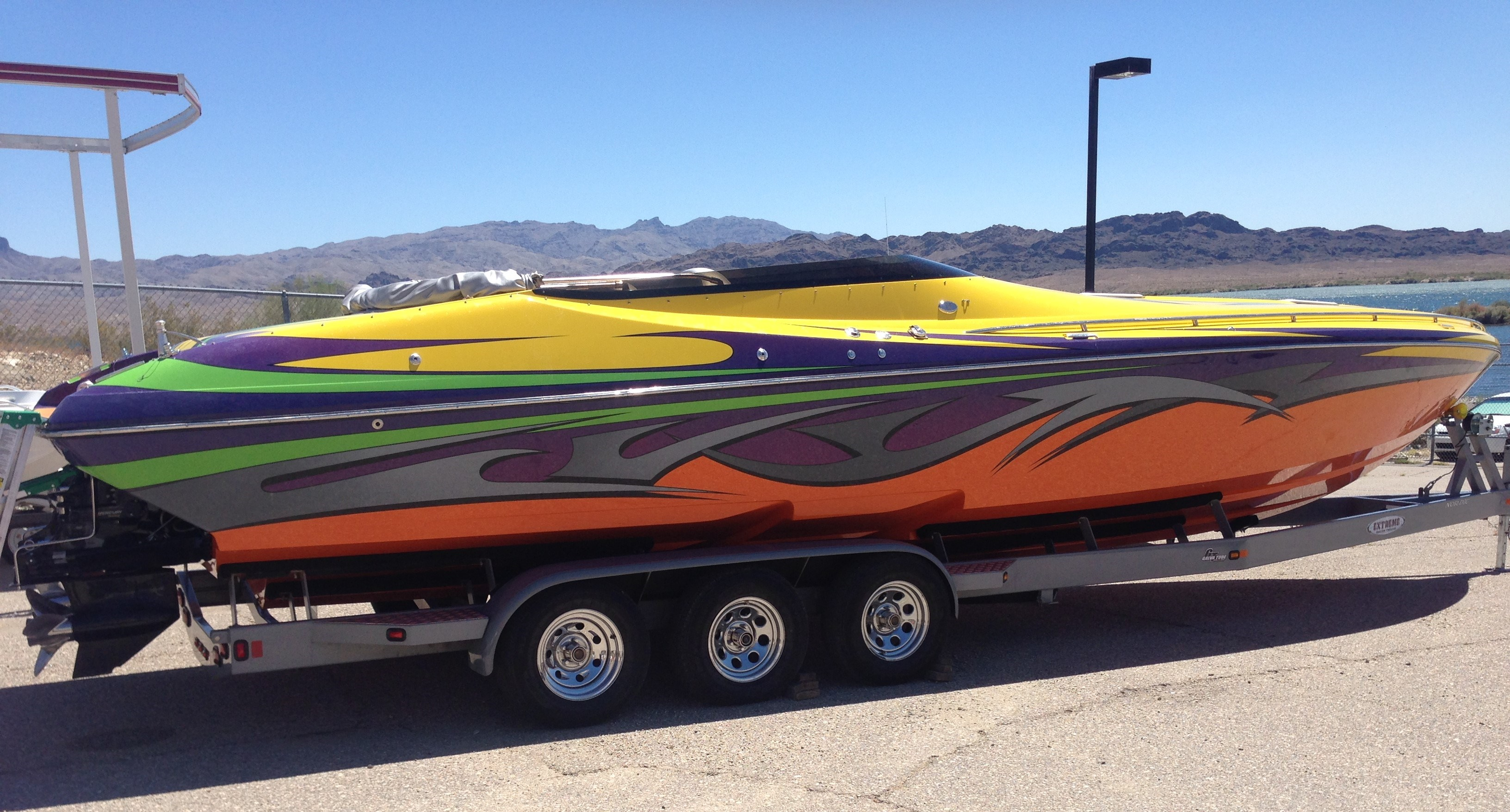 The 35-foot Nordic twin motorboat involved in a deadly single-boat accident in Lake Havasu on June 10. (MCSO)