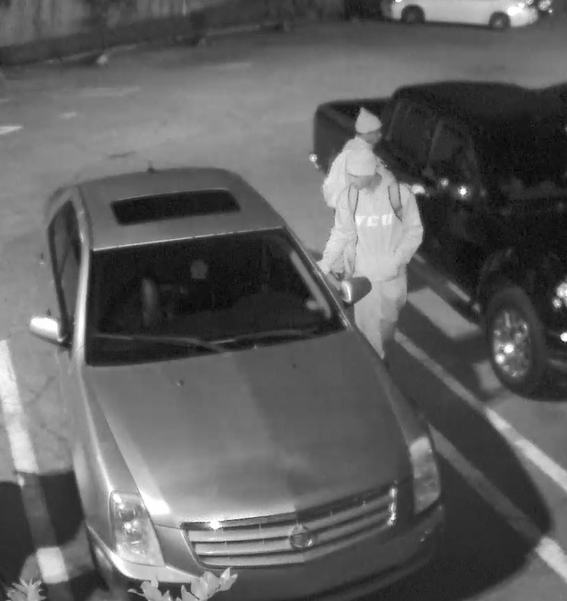 <p>One person got into a vehicle through the unlocked front driver side door and both suspects left the parking lot a few minutes later (Credit: SCMPD)</p>