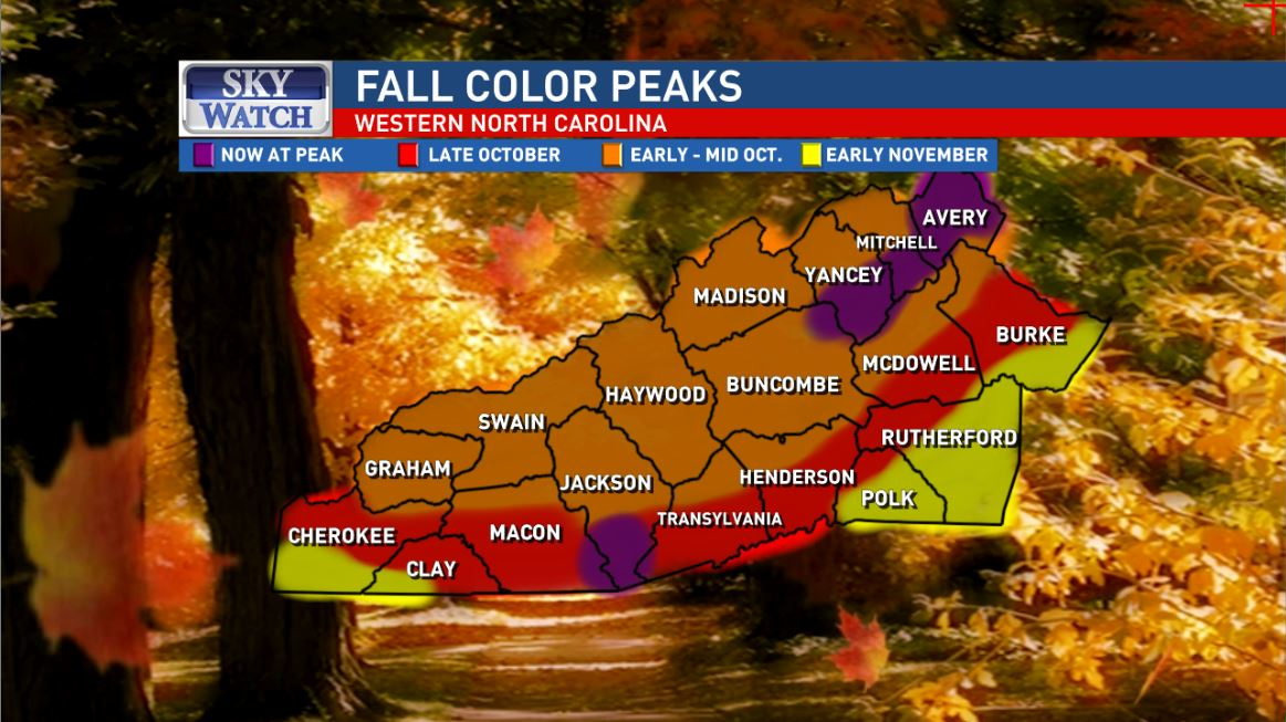 <p>The weekend weather improves though, as more sunshine breaks through the clouds, mostly on Sunday, making it a great day to check out fall color. (Photo credit: WLOS)</p>