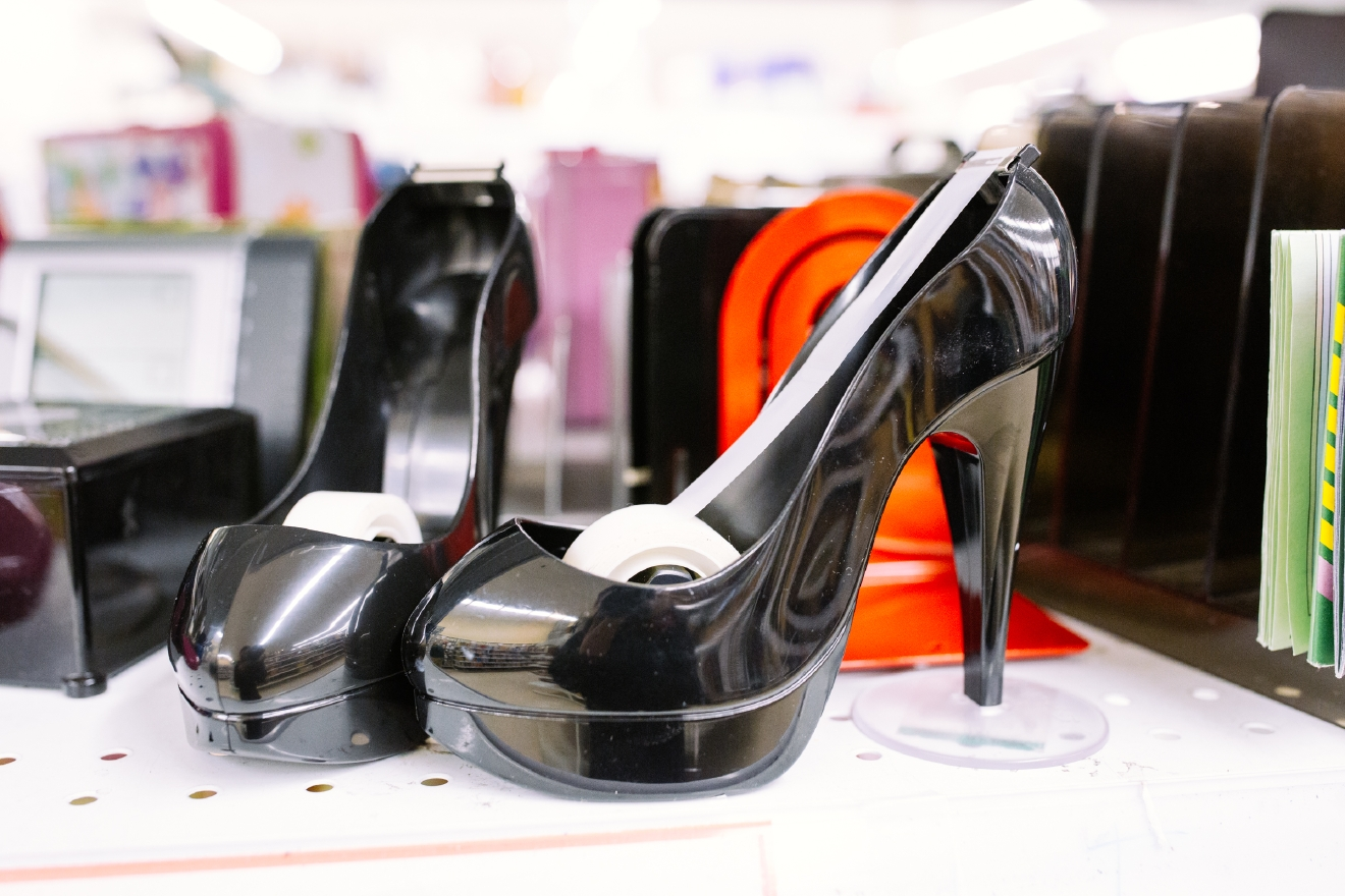 High heel cocktail tape dispensers. $1.99 each                      Are you going to a White Elephant Gift Exchange this year? We headed to our local Value Village to give you some gift ideas and how much they cost. (Image: Joshua Lewis / Seattle Refined)