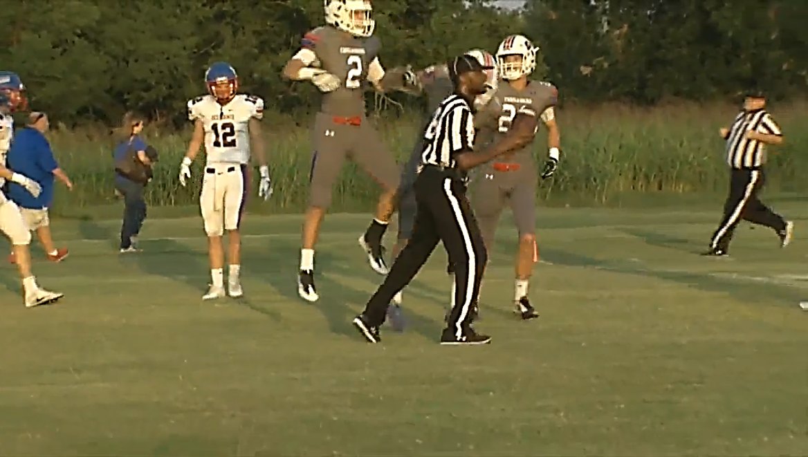 A player celebrates a touchdown when the Christian Heritage Crusaders played the Oklahoma Christian Saints on Friday, Sept. 15, 2017 (KOKH)