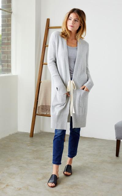 Opt for this cozy yet luxurious{&nbsp;} tee front Cardigan for $395 from Not Monday in Seattle. (Available in Heather Grey and Navy) I swear, this is the softest sweater in the entire world!{&nbsp;}<p>(Image: Not Monday){&nbsp;}</p>