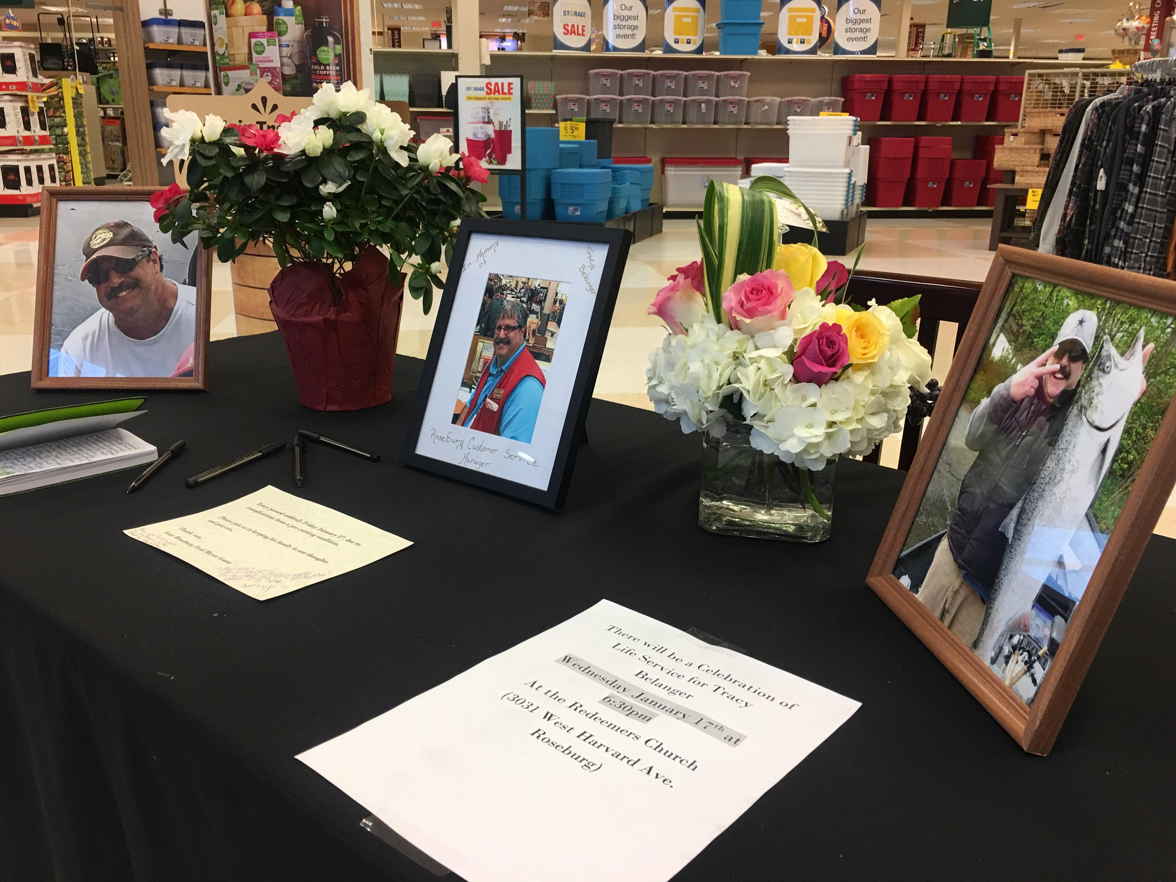 The Roseburg community is mourning the passing of a local store manager who will be remembered as a hero.{ }