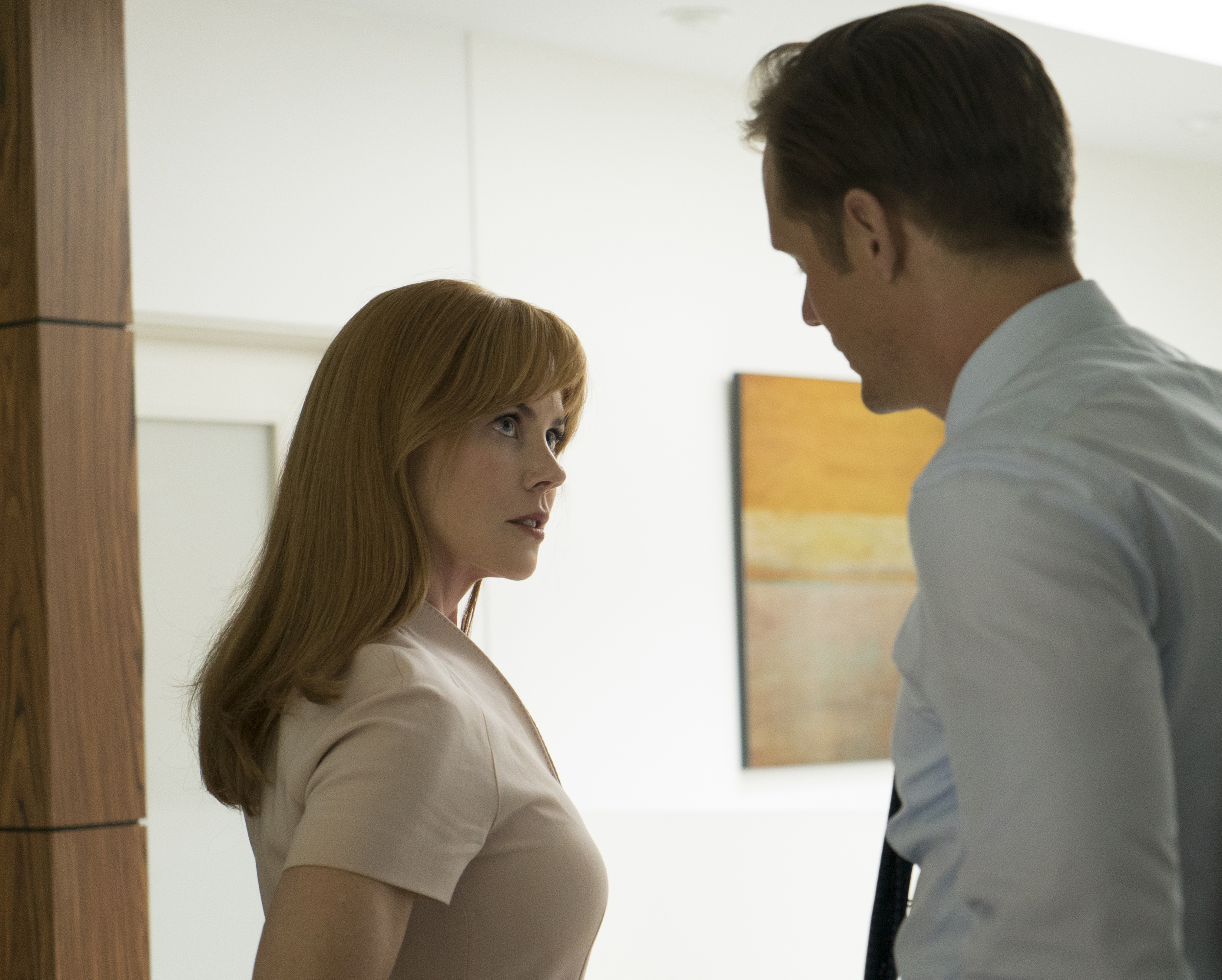 "This image released by HBO shows Nicole Kidman, left, and Alexander Skarsgard in ""Big Little Lies."" Nominations for the 75th annual Golden Globes will be announced on Monday, Dec. 11, 2017. (Hilary Bronwyn Gayle/HBO via AP)"