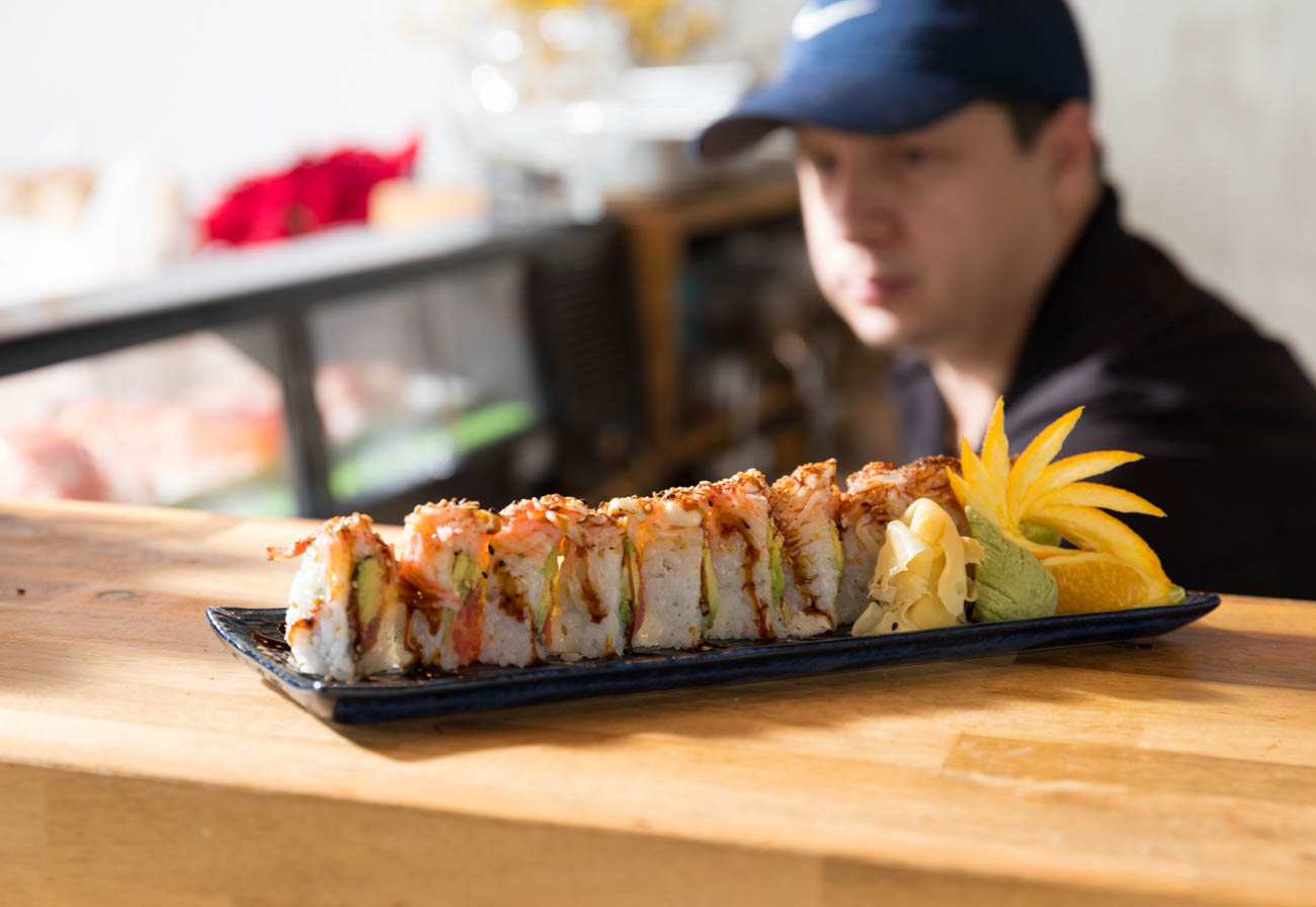 Tiger roll is: spicy tuna, avocado topped with spicy crab & spicy mayo / Image: Marlene Rounds // Published: 1.17.19