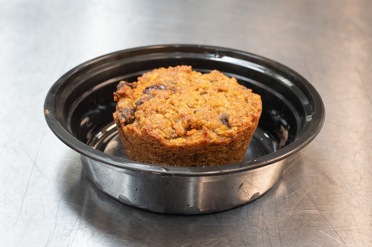 Prepped Girl's Carrot Zucchini muffin: carrots, zucchini, almond flour, gluten-free oats, raisins, walnuts, chocolate chips, cinnamon, butter, and maple syrup / Image: Phil Armstrong, Cincinnati Refined // Published: 8.17.19