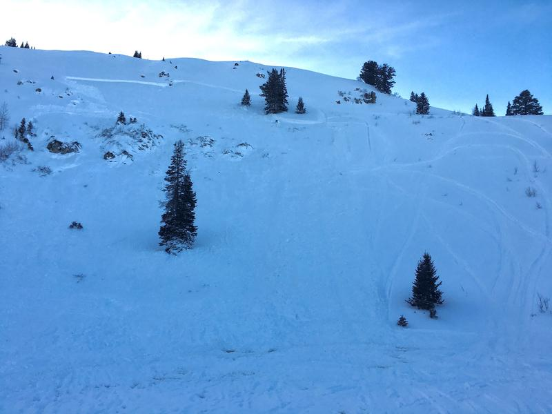 An 18-year-old snowmobiler was rescued from an avalanche in Farmington Canyon on Saturday, Jan. 18, 2020, but did not survive his injuries. (Photo courtesy Utah Avalanche Center)
