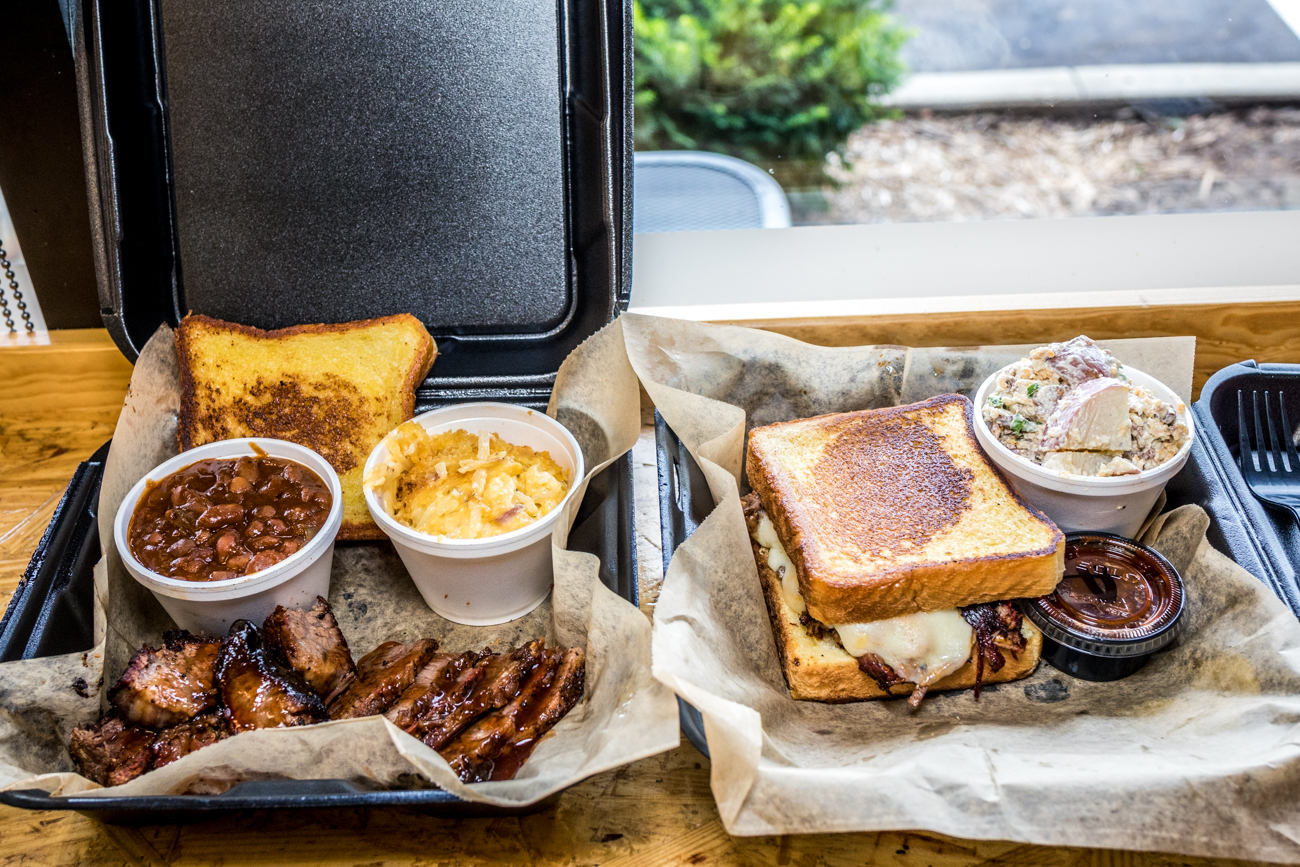 Brisket and burnt ends with cheesy potatoes and baked beans and brisket grilled cheese with potato salad from Velvet Smoke / Image: Catherine Viox // Published: 8.28.20