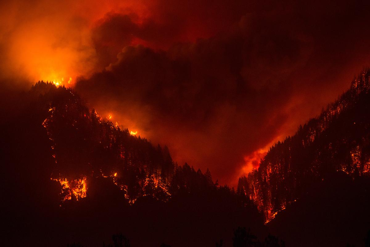 A photo of the Eagle Creek Fire as it burns through part of the Oneonta Gorge area on Monday, September 4, 2017. (Photo by Tristan Fortsch)