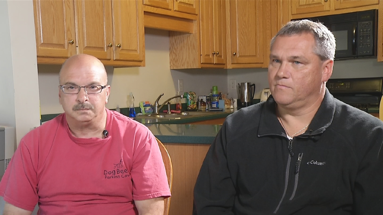 Kellogg truckdrivers Tim McNamara (left) and Gary Clark (right) tell the I-Team they want the hostile work environment at Kellogg's Franklin distribution center to end. (WJAR)