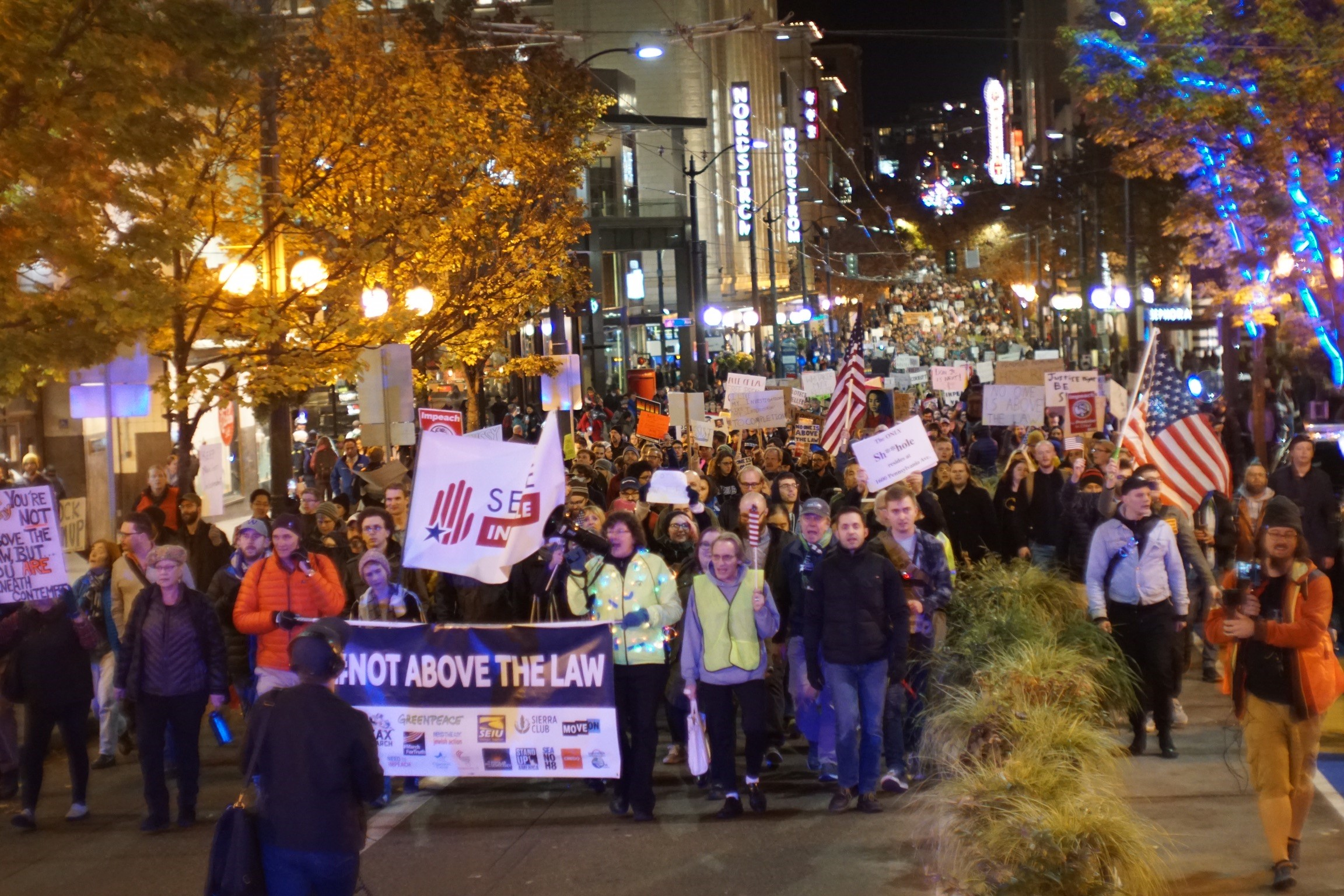 Protest march underway at height of Seattle evening rush hour