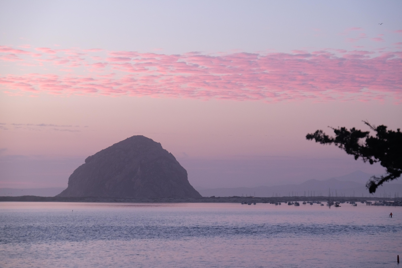 Sunset view of Morro Rock from the South.