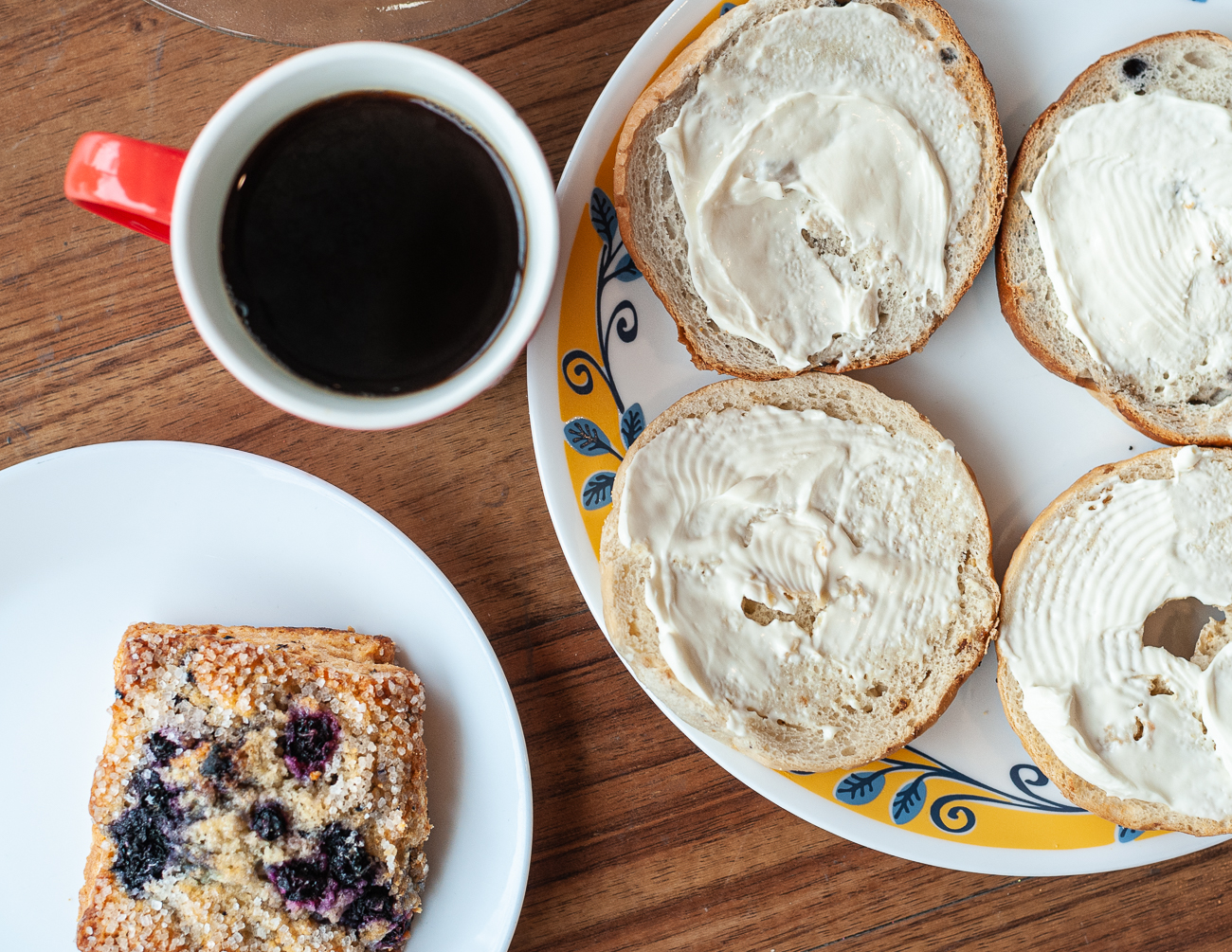 Blueberry scone, black coffee, and bagels{ }/ Image: Kellie Coleman // Published: 1.31.21