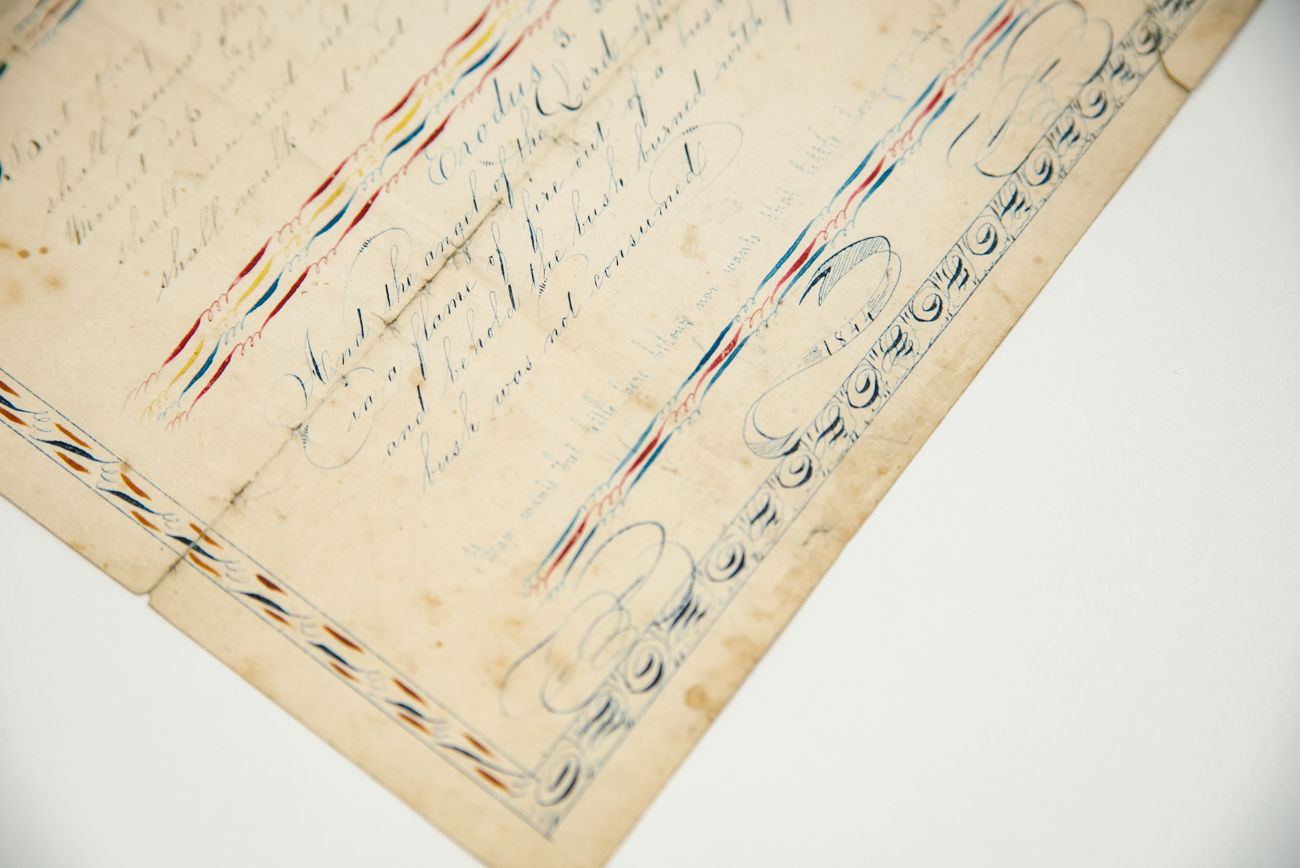 Intricate and artistic details on a personal letter dated in 1844 from a Shaker Village resident in Ohio / Image: Melissa Sliney{ }// Published: 9.7.19