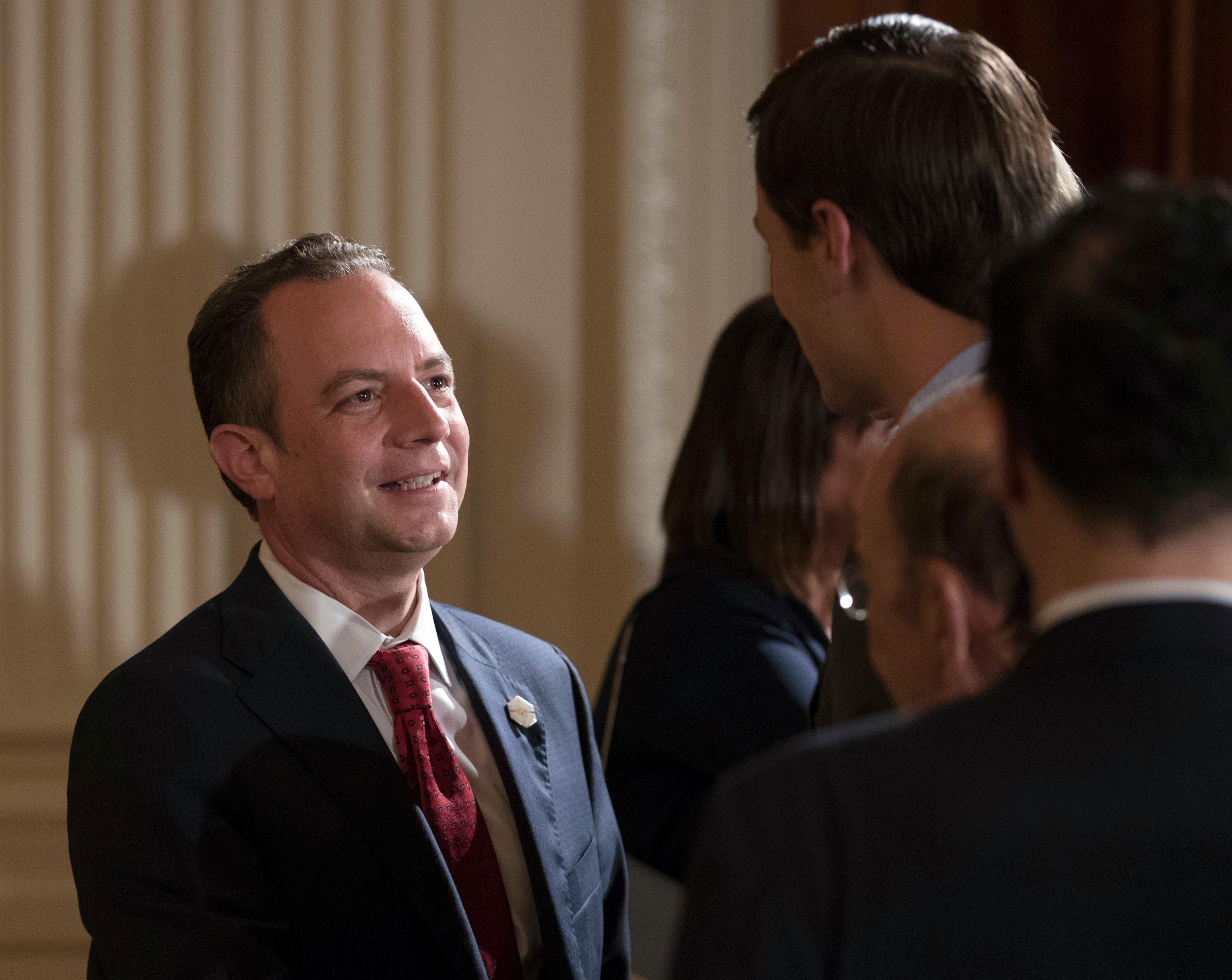 White House Chief of Staff Reince Priebus, talks with senior adviser to President Donald Trump, Jared Kushner, in the East Room of the White House in Washington, Wednesday, July 26, 2017. (AP Photo/Carolyn Kaster)
