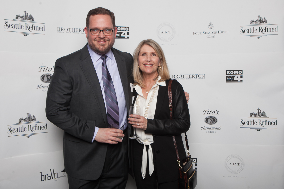 Will Harris and Lori Ehrig celebrate the launch of Seattle Refined at the Four Seasons. (Image: Joshua Lewis / Seattle Refined)