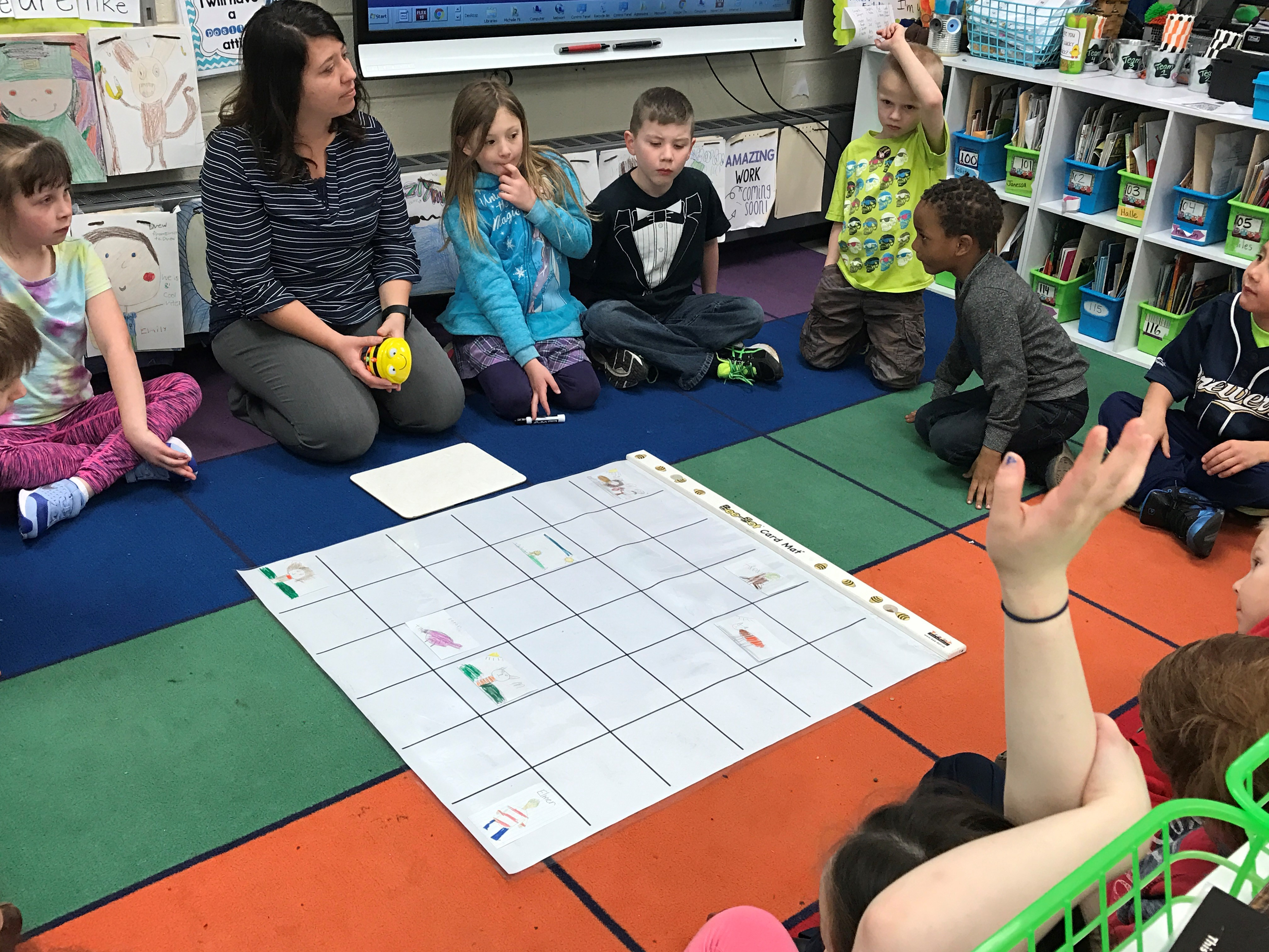 Michelle Flicek explaining the day's assignment to her first grade students at King Elementary in Green Bay.(WLUK/Gabrielle Mays)
