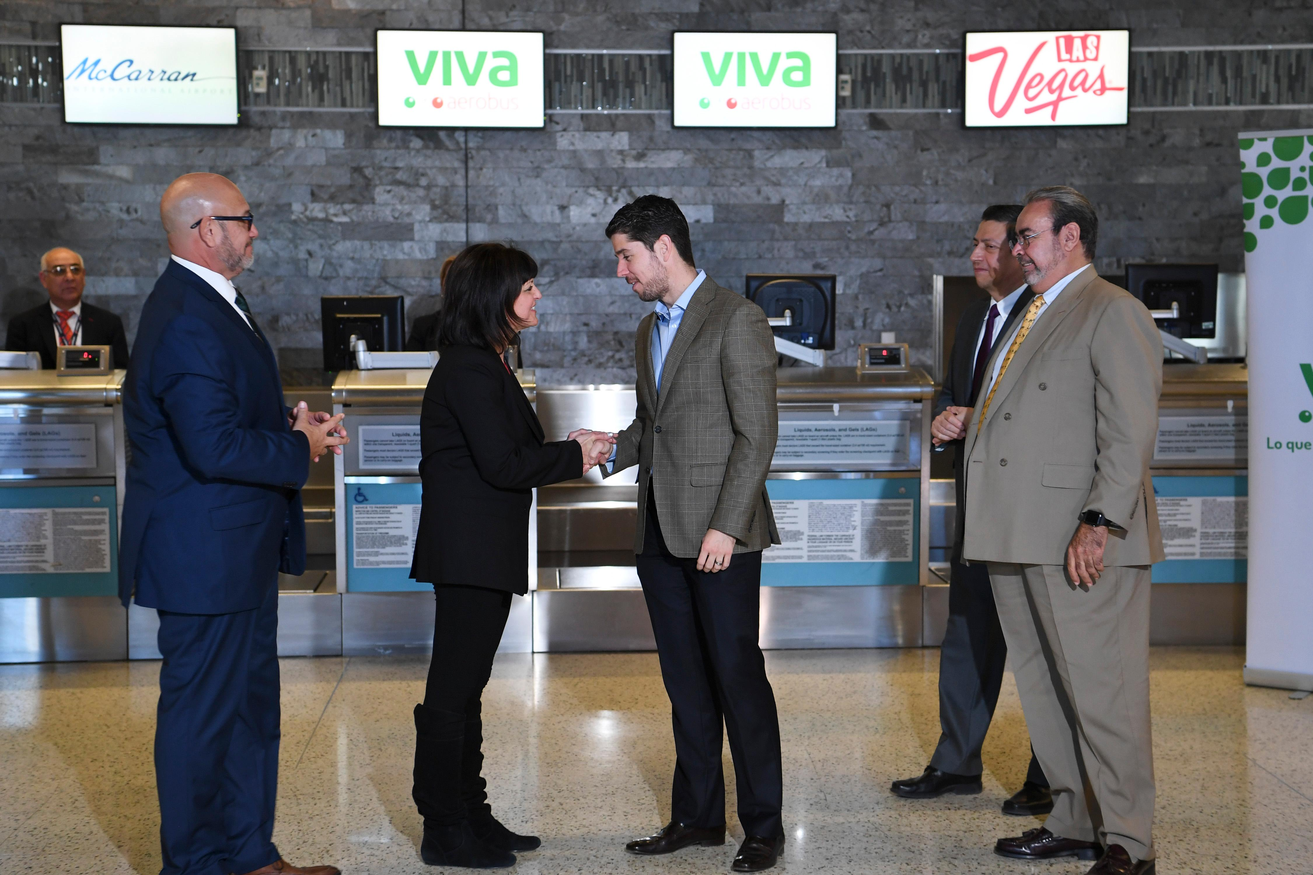 Clark County Aviation Director Rosemary Vassiliadis thanks General Director of Viva Aerobus Juan Carlos Zuazua after a news conference at McCarran International Airport to announce new Viva Aerobus service between Las Vegas and Mexico City  Friday, December 15, 2017. CREDIT: Sam Morris/Las Vegas News Bureau