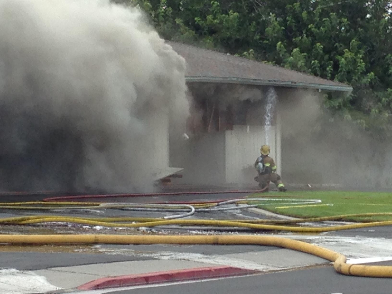 Sparks firefighters battle a blaze at Walton's Funeral Home on Friday, Sept. 23, 2016 (Sinclair Broadcast Group)