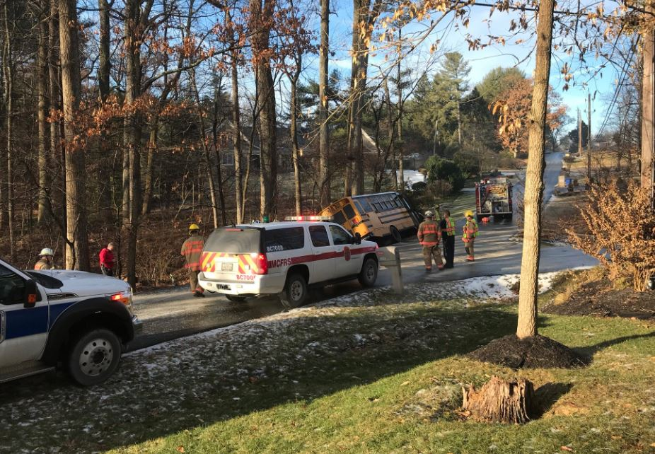 Student, two others rescued after bus teetered over Maryland ravine, officials say. (Montgomery County Fire Department)