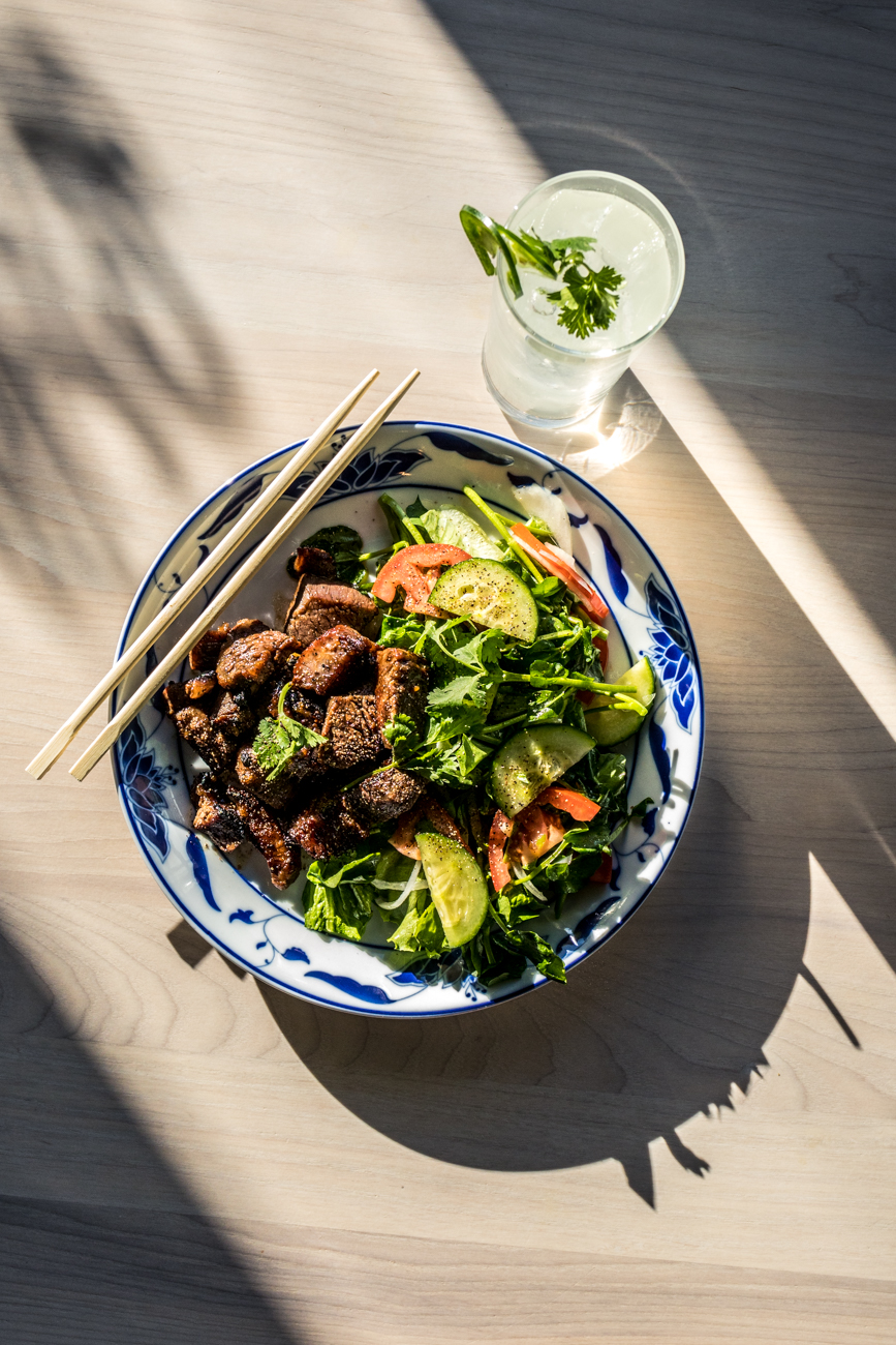 Bo Luc Lac (Shaken Beef): (available for dinner only) sautéed cubes of Waygu flank steak cooked medium with a sweet and savory marinade accompanied by a watercress salad with a simple vinaigrette / Image: Catherine Viox{ }// Published: 12.28.19