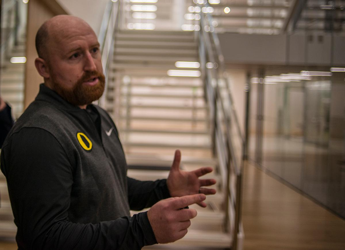 Andrew Murray is the Director of Performance and Sports Science in the Athletic Department at the University of Oregon. He gave a tour of the new Marcus Mariota Sports Performance Center which is now open and running. The Performance Center was built using a private donation estimated at $19 million from Phil and Penny Knight.