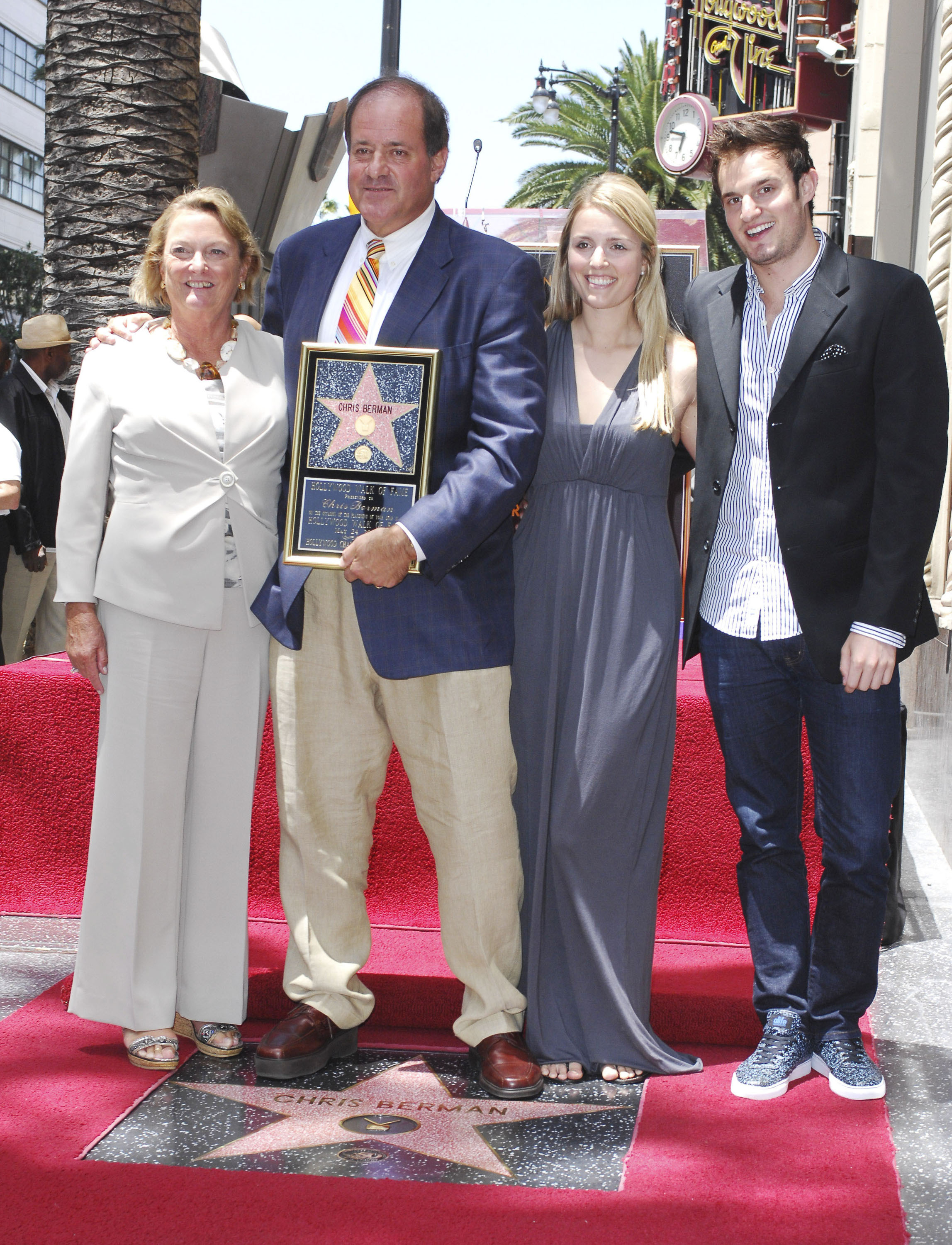 ESPN's Chris Berman, surrounded by his family, is honored with a star on the Hollywood Walk of Fame held in front of Dillon's on Hollywood Boulevard. (WENN)
